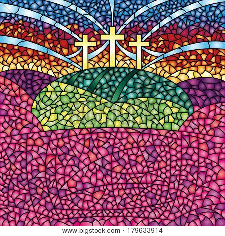 Colorful stained glass with the theme of the crucifixion of Christ - Vector image