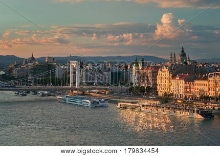 Budapest is the capital city of Hungary. It is split by the Danube river making two districts, Buda and Pest.