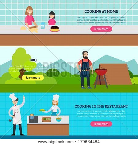 Cookery people horizontal banners with family cooking at home man preparing barbecue outdoor and restaurant culinary vector illustration
