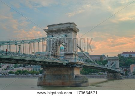 Szechenyi Bridge is connects Buda to Pest on the Danube river.