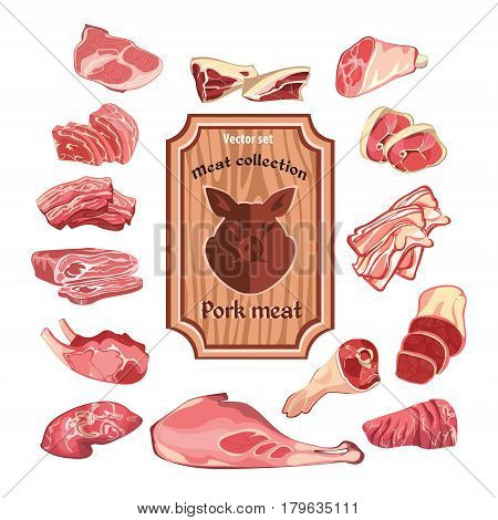 Sketch colorful meat elements collection with wooden board and fresh parts of cutting pork isolated vector illustration