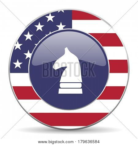 Chess horse usa design web american round internet icon with shadow on white background.