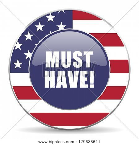Must have usa design web american round internet icon with shadow on white background.