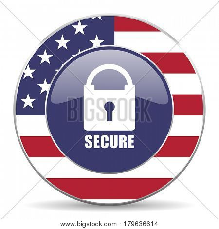 Secure usa design web american round internet icon with shadow on white background.