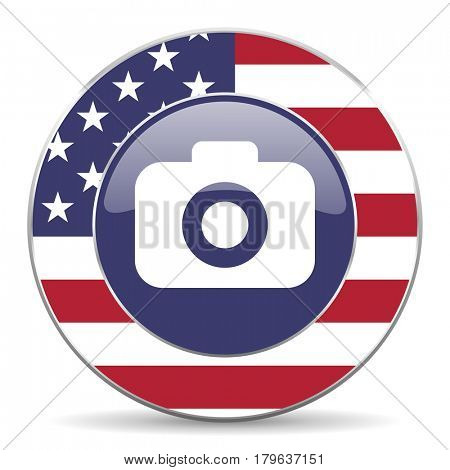 Photo camera usa design web american round internet icon with shadow on white background.