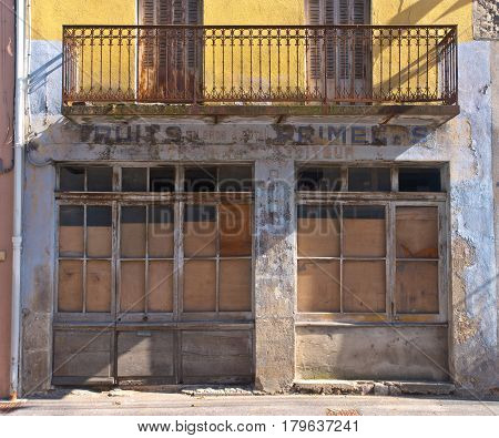 Old Obsolete Grocery Store a Rural City in France