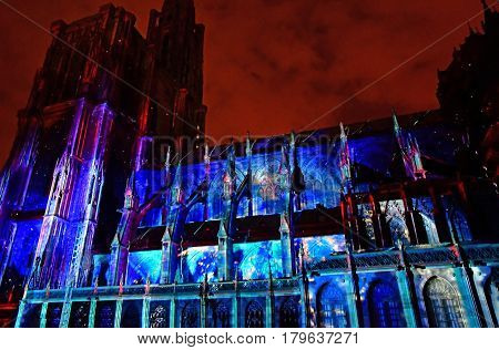 Strasbourg; France - july 24 2016 : sound and light of the Notre Dame cathedral