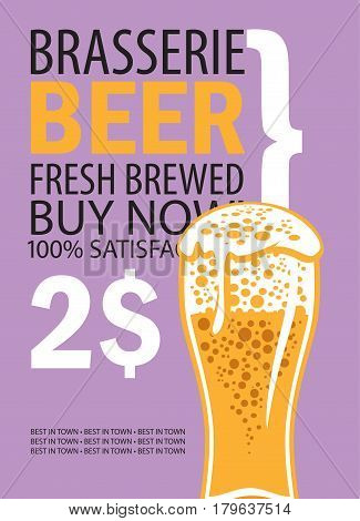 vector banner for brasserie with glass of beer and text on lilac background
