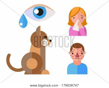 Allergy symbols animal disease healthcare cat viruses and health flat label people with illness allergen symptoms disease information vector illustration. Human eye treatment cough not healthy sign.