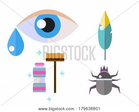Allergy symbols disease healthcare tablets viruses and health flat label people with illness allergen symptoms disease information vector illustration. Human flower treatment cough not healthy sign.