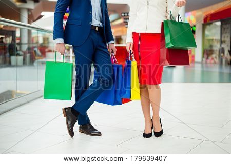 Confident Stylish Customers With Packets After Shopping