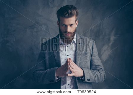 Portrait Of Handsome Stylish Young Man With Mustache And Beard Keep Calm And Planning
