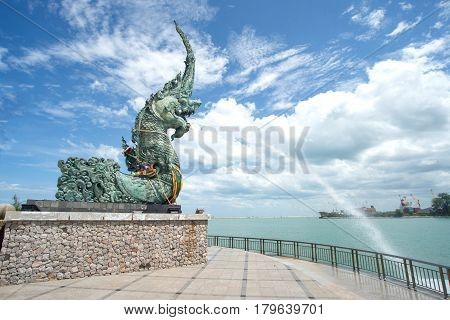 Naga statue in Songkhla province the southern of Thailand