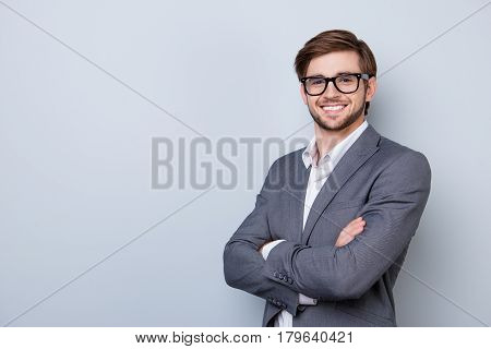 Confident Cute Smart Business Man With Spectacles In Formal Wear