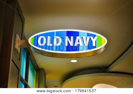 April 3 2017-Old Navy Logo outside of Old navy store located inside of Metropolis at Metrotown Burnaby, BC Canada