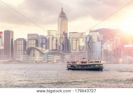 Sunset Over Victoria Harbour In Hong Kong