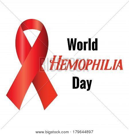 Realistic Red Ribbon To World Hemophilia Day.