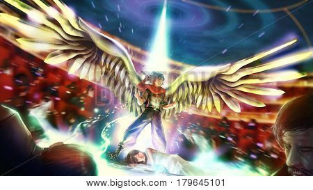 Cartoon illustration of a great birdman or wingman warrior hero is bursting his ultimate power to save his princess girl. Male cartoon warrior shows his power in fantasy superhero concept.