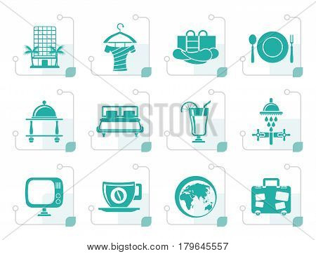 Stylized Hotel, motel and holidays icons - vector icon set