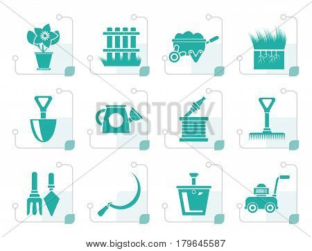 Stylized Garden and gardening tools icons - vector icon set