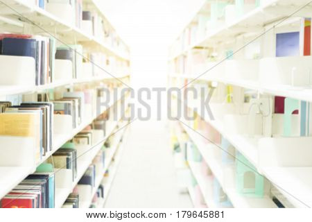 Library room interior blur background for your design