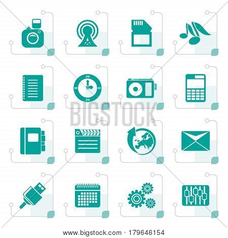 Stylized Phone Performance, Business and Office Icons - Vector Icon Set