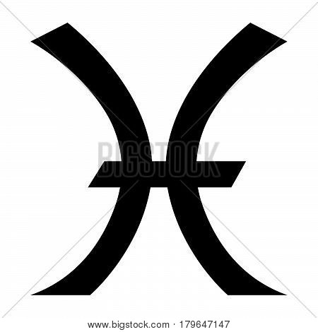 Flat Black Pisces Sign Icon