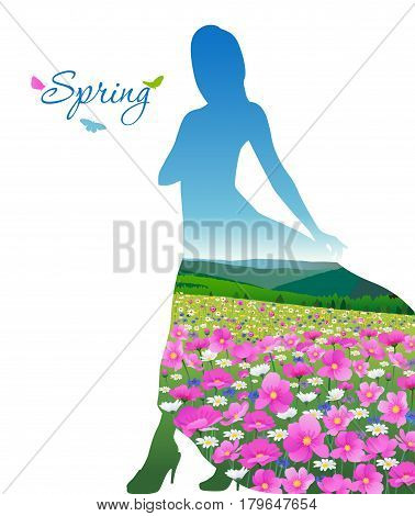 Valley with flowers in the form of a female silhouette on a white background