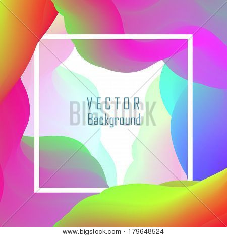 Vector template with frame and fluid background, abstract flowing paint shapes. Magic and futuristic graphic design with splash in holographic colors for brochure, banner or business cards.
