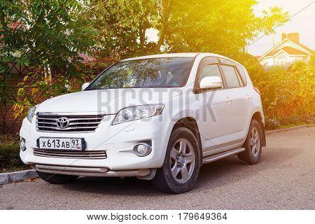 Sochi, Russia - October 11, 2016: Toyota RAV4 parked suburbia of Sochi City.