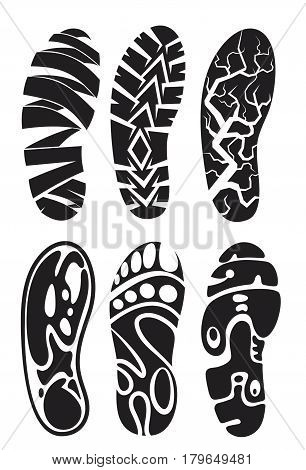 set creative footprint sport shoes stock vector