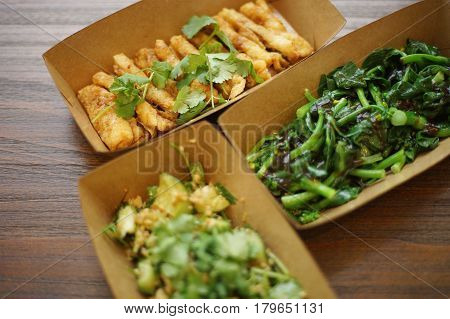 chinese food vegetables in paper boxes for takeout