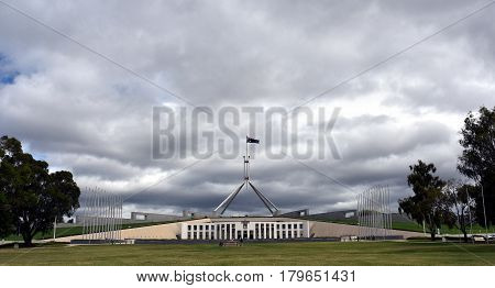 Canberra Australia - March 18 2017. Australia's landmark Parliament House where both sides of the federal government debate future topics of the Australian nation.