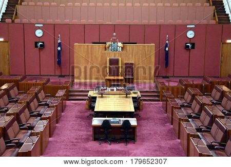 Canberra Australia - March 18 2017. Interior view of the Australian Senate in Parliament House Canberra Australia.