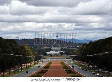 Anzac Parade running from The Australian War Memorial in direction of Parliament House Canberra. View of Anzac Parade and Parliament House in Canberra Australia