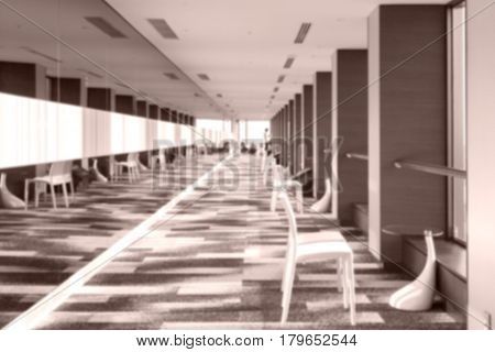 Blurred background of long corridor at apartment buiding