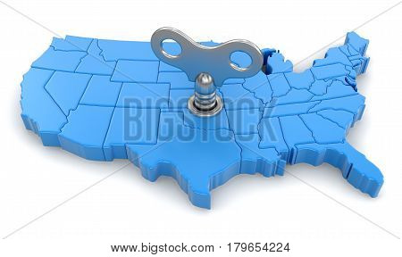 3D Illustration. Map of USA with winding key. Image with clipping path.