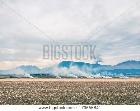 Smoke On The Field, Winter, Japan