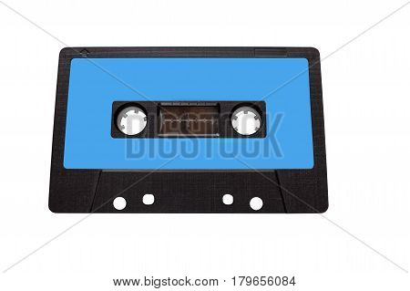Vintage compact audio cassettes. Music cassette tapes old technology realistic retro design. colour blue, insulated white background