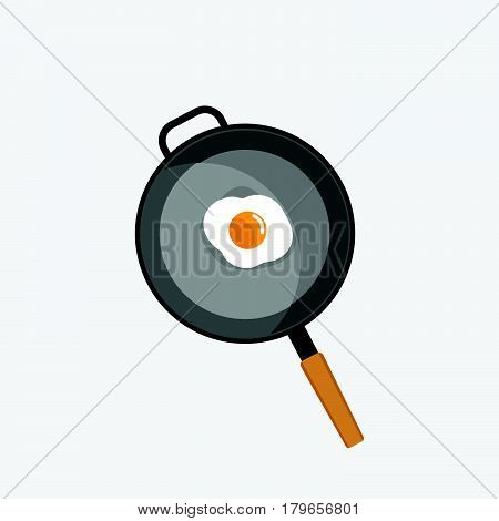fried egg in pan , One fried egg on a pan