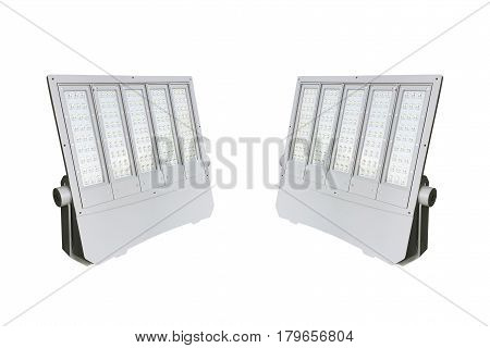 Outdoor LED street lamps post with energy-saving technology for hight brightness with small energy isolate on white background