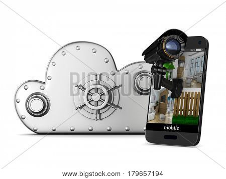 phone with camera on white background. Isolated 3D illustration