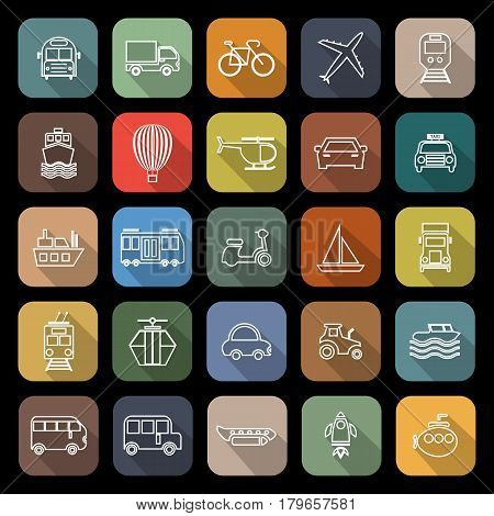 Transportation line flat icons with long shadow, stock vetor
