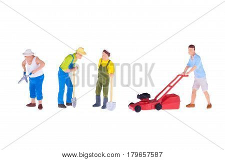 Close up of Miniature gardener people isolate on white background. Elegant Design with copy space for placement your text mock up for housework and gradening concept
