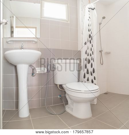 Interior Of Modern Design Home Bathroom With Open Shower, Washbasin Stand And Toilet