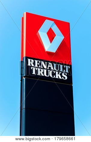SAMARA RUSSIA - MAY 29 2016: Official dealership sign Renault over blue sky. Renault is a French multinational automotive manufacturer