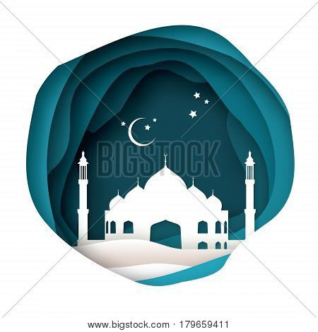Ramadan Kareem Greeting card with arabic White Origami Mosque. Paper cut Desert Cave Landscape. Holy month of muslim. Symbol of Islam. Crescent Moon. Islamic festival celebration vector background.
