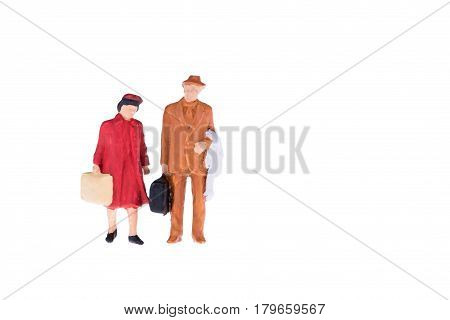 Close Up Of Miniature Tourist People Isolate On White Background. Elegant Design With Copy Space For