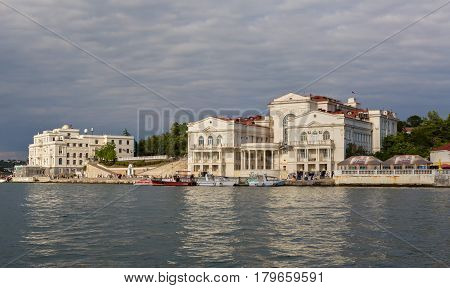 Sevastopol, Russia - June 09, 2016: Palace of Childhood and Youth in the Artillery Bay of Sevastopol