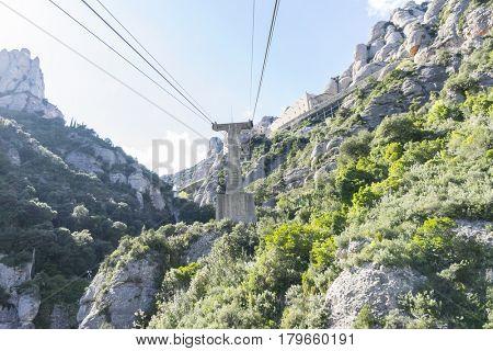 Peak, Cable car of the Montserrat Monastery in Barcelona, Catalonia, Spain